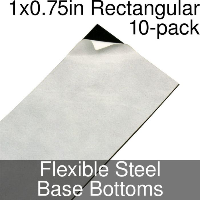 Miniature Base Bottoms, Rectangular, 1x0.75inch, Flexible Steel (10) - LITKO Game Accessories