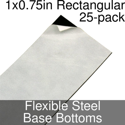 Miniature Base Bottoms, Rectangular, 1x0.75inch, Flexible Steel (25) - LITKO Game Accessories