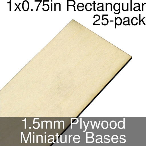 Miniature Bases, Rectangular, 1x0.75inch, 1.5mm Plywood (25) - LITKO Game Accessories