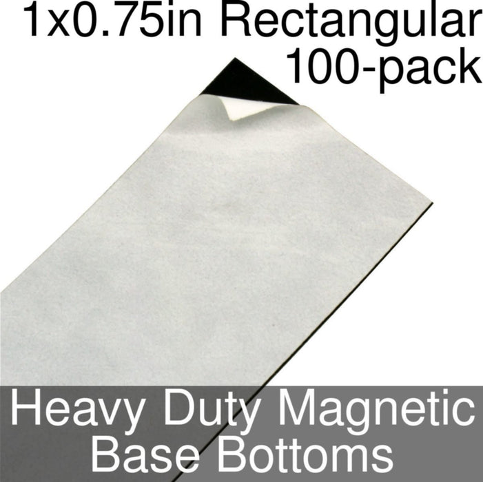Miniature Base Bottoms, Rectangular, 1x0.75inch, Heavy Duty Magnet (100) - LITKO Game Accessories