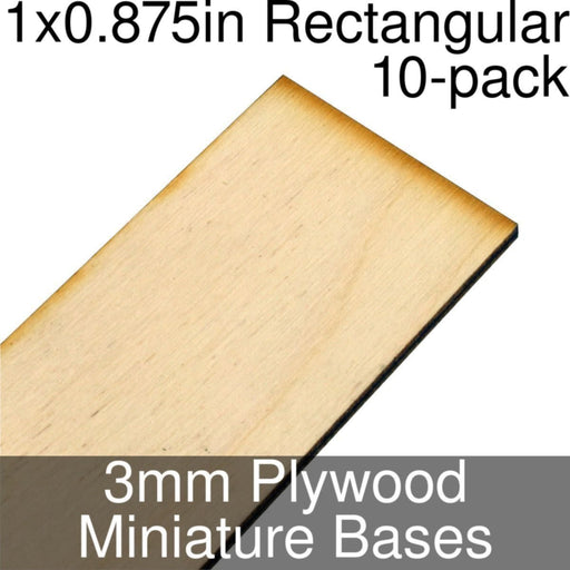Miniature Bases, Rectangular, 1x0.875inch, 3mm Plywood (10) - LITKO Game Accessories