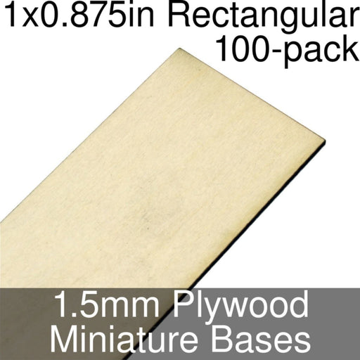 Miniature Bases, Rectangular, 1x0.875inch, 1.5mm Plywood (100) - LITKO Game Accessories