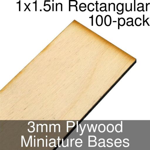 Miniature Bases, Rectangular, 1x1.5inch, 3mm Plywood (100) - LITKO Game Accessories