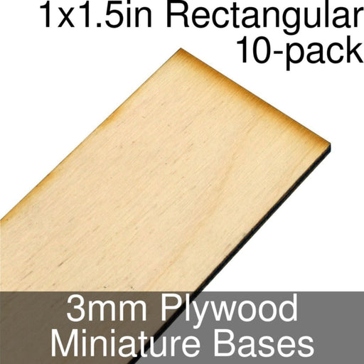 Miniature Bases, Rectangular, 1x1.5inch, 3mm Plywood (10) - LITKO Game Accessories