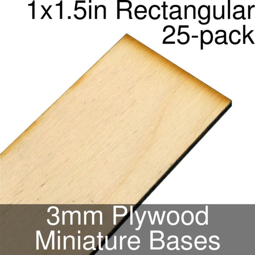 Miniature Bases, Rectangular, 1x1.5inch, 3mm Plywood (25) - LITKO Game Accessories
