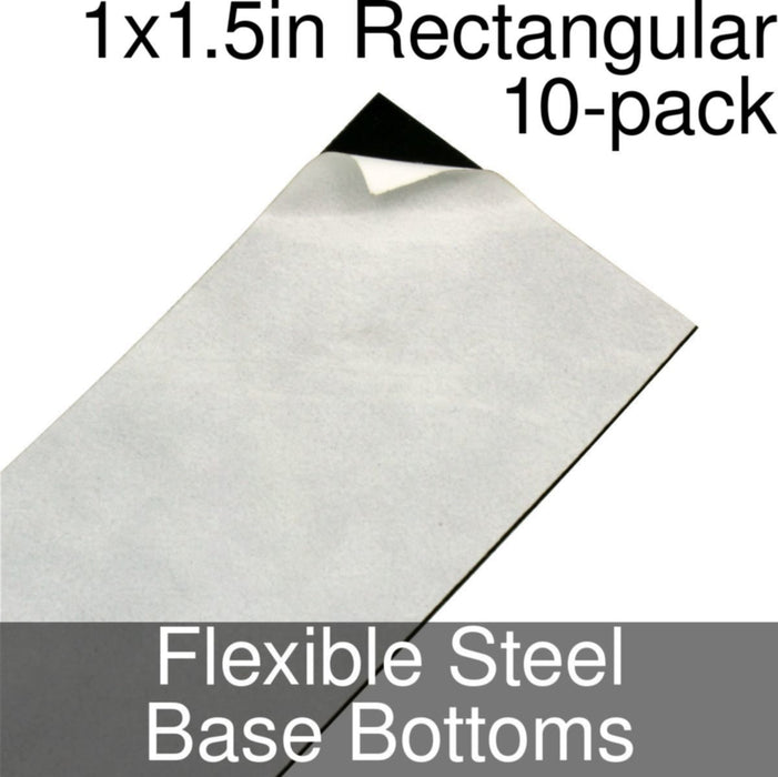 Miniature Base Bottoms, Rectangular, 1x1.5inch, Flexible Steel (10) - LITKO Game Accessories
