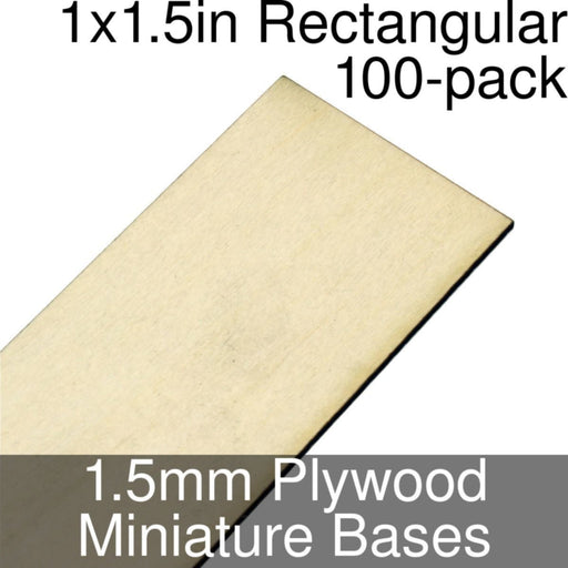 Miniature Bases, Rectangular, 1x1.5inch, 1.5mm Plywood (100) - LITKO Game Accessories