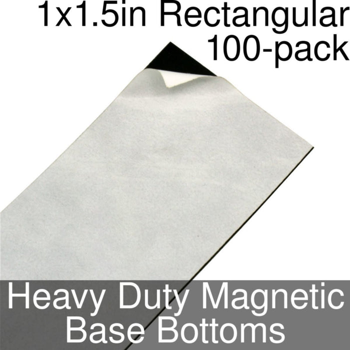 Miniature Base Bottoms, Rectangular, 1x1.5inch, Heavy Duty Magnet (100) - LITKO Game Accessories