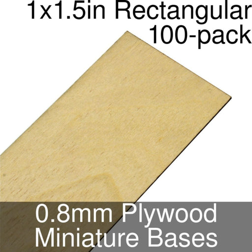 Miniature Bases, Rectangular, 1x1.5inch, 0.8mm Plywood (100) - LITKO Game Accessories