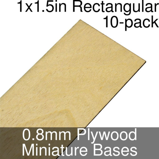 Miniature Bases, Rectangular, 1x1.5inch, 0.8mm Plywood (10) - LITKO Game Accessories