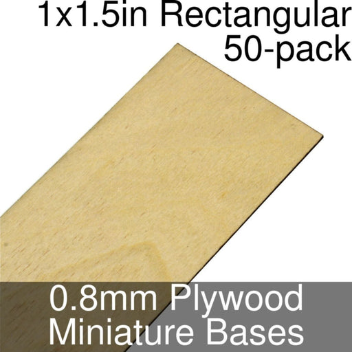 Miniature Bases, Rectangular, 1x1.5inch, 0.8mm Plywood (50) - LITKO Game Accessories