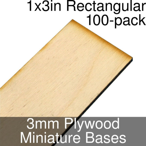Miniature Bases, Rectangular, 1x3inch, 3mm Plywood (100) - LITKO Game Accessories