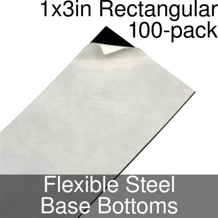 Miniature Base Bottoms, Rectangular, 1x3inch, Flexible Steel (100) - LITKO Game Accessories