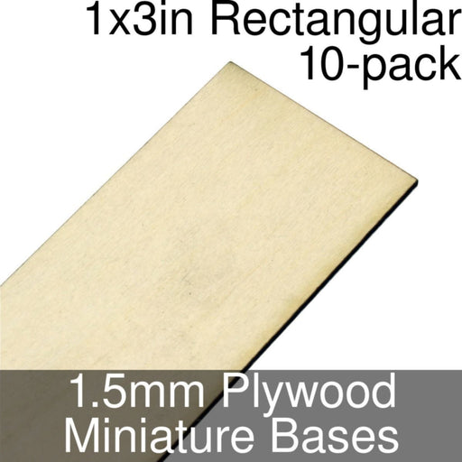 Miniature Bases, Rectangular, 1x3inch, 1.5mm Plywood (10) - LITKO Game Accessories
