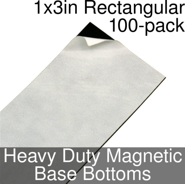 Miniature Base Bottoms, Rectangular, 1x3inch, Heavy Duty Magnet (100) - LITKO Game Accessories
