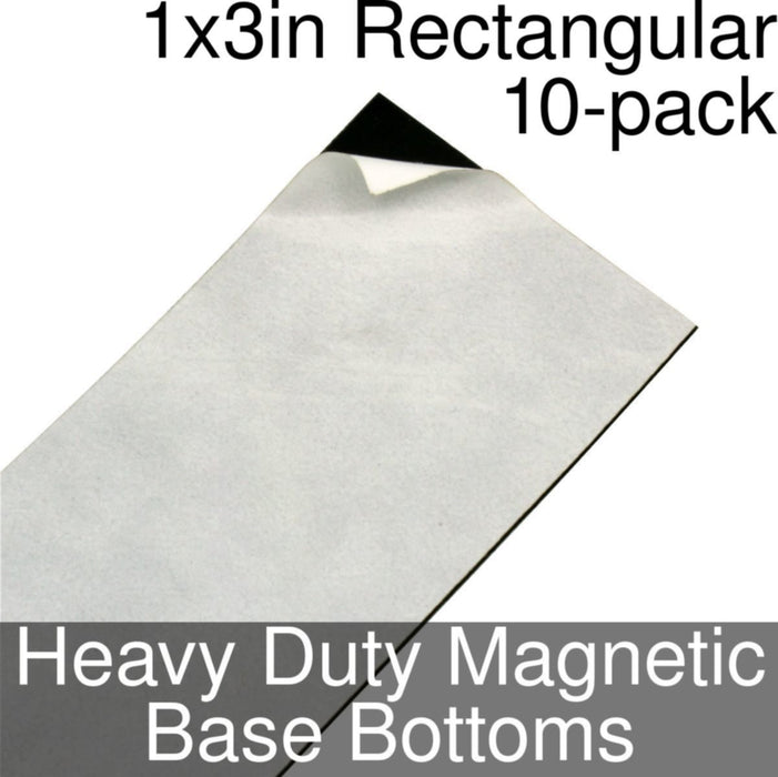 Miniature Base Bottoms, Rectangular, 1x3inch, Heavy Duty Magnet (10) - LITKO Game Accessories
