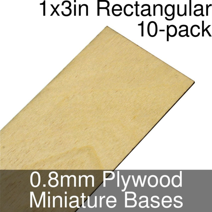 Miniature Bases, Rectangular, 1x3inch, 0.8mm Plywood (10) - LITKO Game Accessories