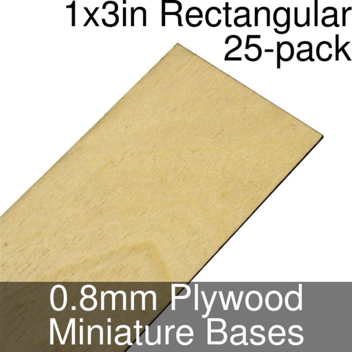 Miniature Bases, Rectangular, 1x3inch, 0.8mm Plywood (25) - LITKO Game Accessories
