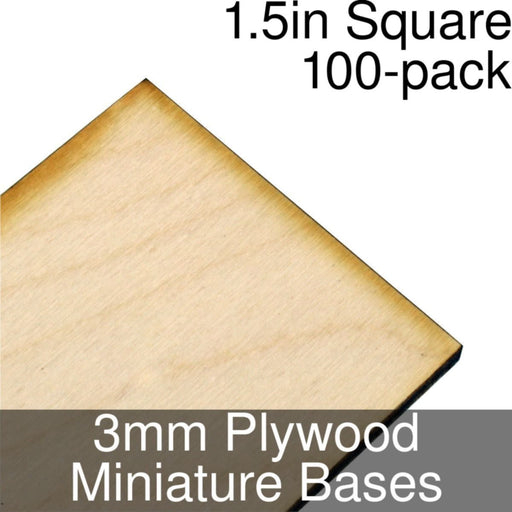 Miniature Bases, Square, 1.5inch, 3mm Plywood (100) - LITKO Game Accessories