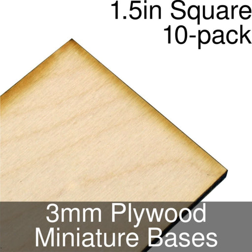 Miniature Bases, Square, 1.5inch, 3mm Plywood (10) - LITKO Game Accessories