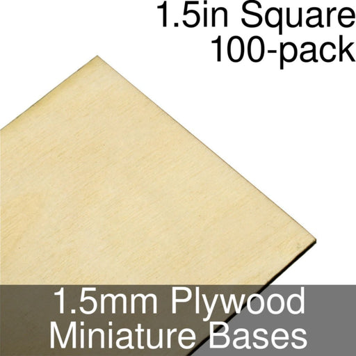 Miniature Bases, Square, 1.5inch, 1.5mm Plywood (100) - LITKO Game Accessories