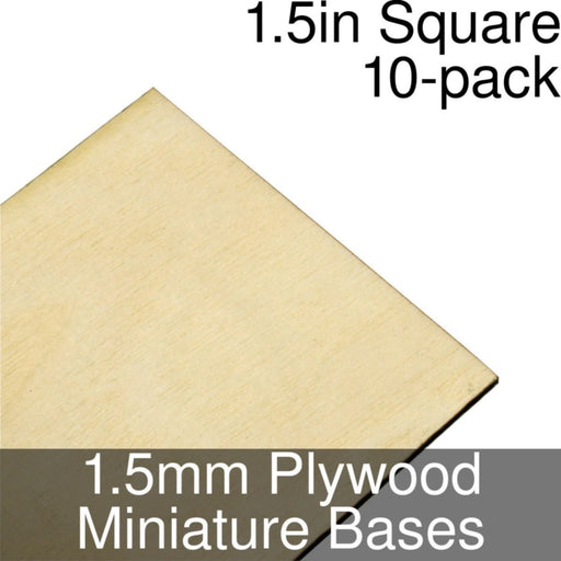 Miniature Bases, Square, 1.5inch, 1.5mm Plywood (10) - LITKO Game Accessories