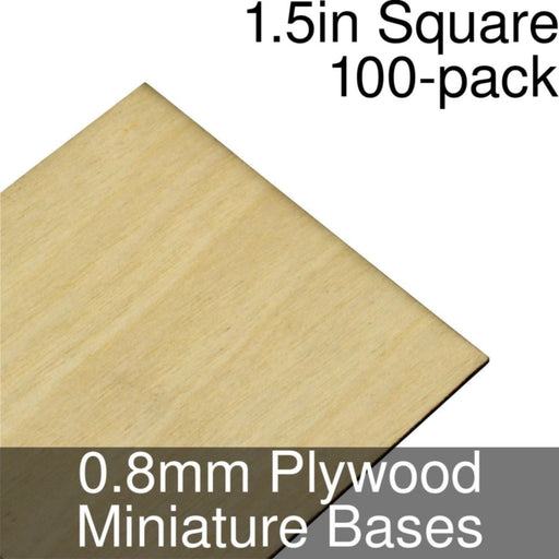 Miniature Bases, Square, 1.5inch, 0.8mm Plywood (100) - LITKO Game Accessories