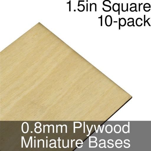 Miniature Bases, Square, 1.5inch, 0.8mm Plywood (10) - LITKO Game Accessories