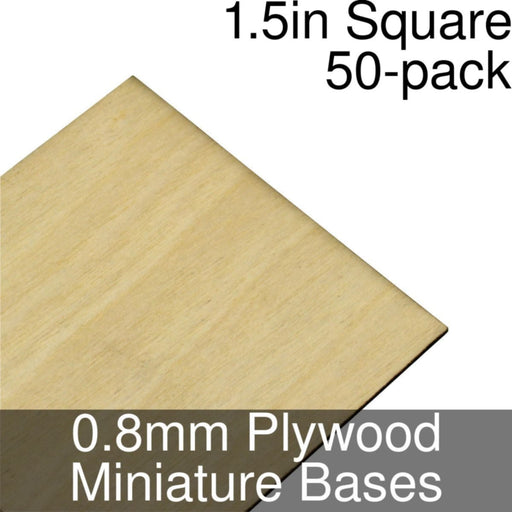 Miniature Bases, Square, 1.5inch, 0.8mm Plywood (50) - LITKO Game Accessories