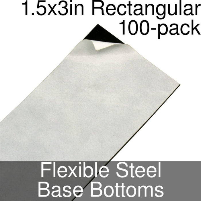 Miniature Base Bottoms, Rectangular, 1.5x3inch, Flexible Steel (100) - LITKO Game Accessories