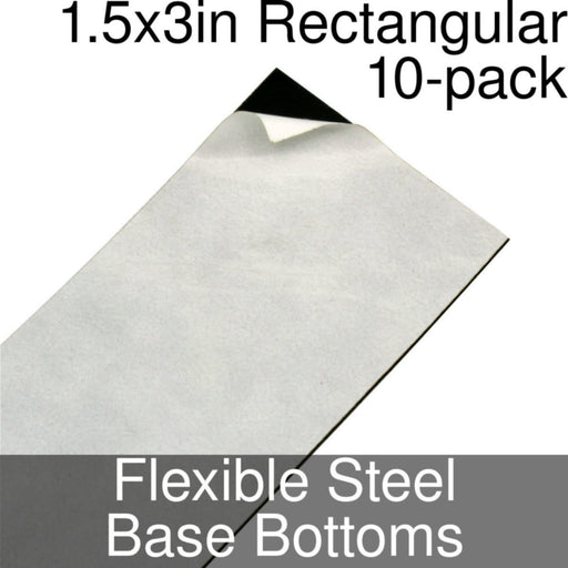 Miniature Base Bottoms, Rectangular, 1.5x3inch, Flexible Steel (10) - LITKO Game Accessories