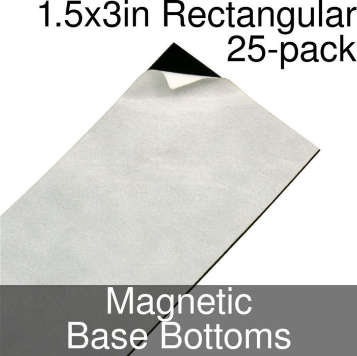 Miniature Base Bottoms, Rectangular, 1.5x3inch, Magnet (25) - LITKO Game Accessories