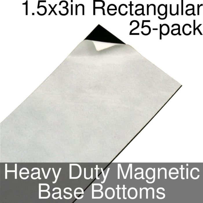 Miniature Base Bottoms, Rectangular, 1.5x3inch, Heavy Duty Magnet (25) - LITKO Game Accessories