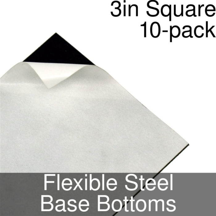 Miniature Base Bottoms, Square, 3inch, Flexible Steel (10) - LITKO Game Accessories