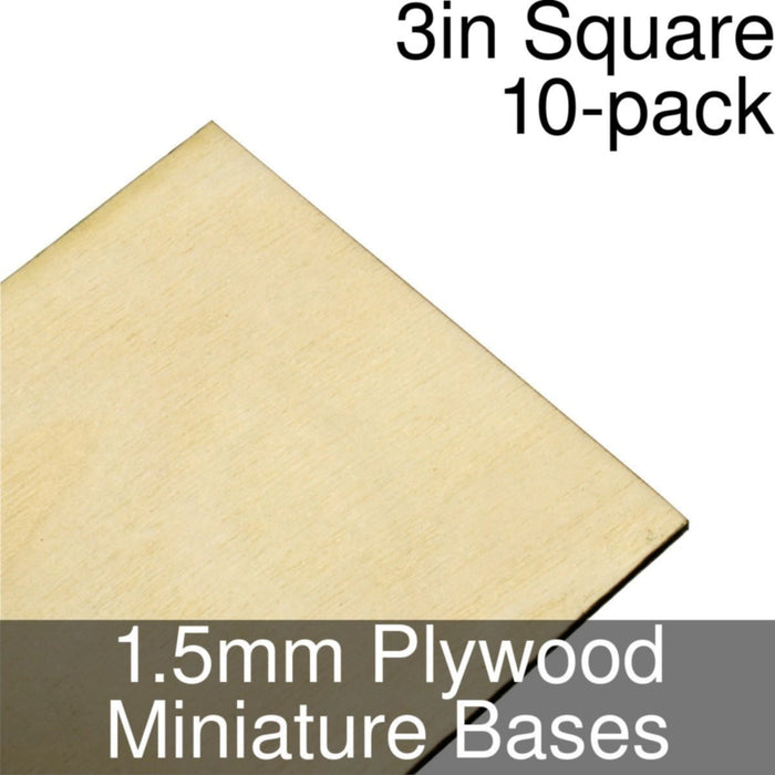 Miniature Bases, Square, 3inch, 1.5mm Plywood (10) - LITKO Game Accessories