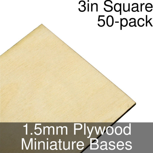 Miniature Bases, Square, 3inch, 1.5mm Plywood (50) - LITKO Game Accessories