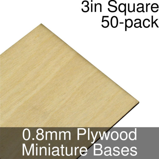 Miniature Bases, Square, 3inch, 0.8mm Plywood (50) - LITKO Game Accessories