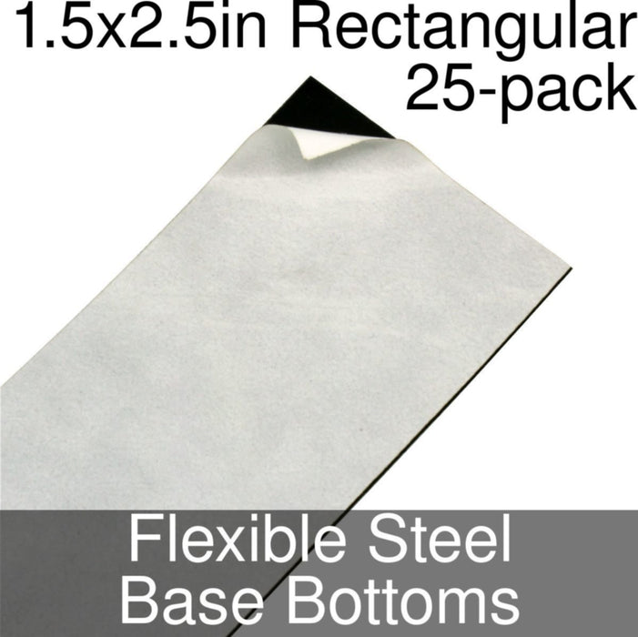 Miniature Base Bottoms, Rectangular, 1.5x2.5inch, Flexible Steel (25) - LITKO Game Accessories
