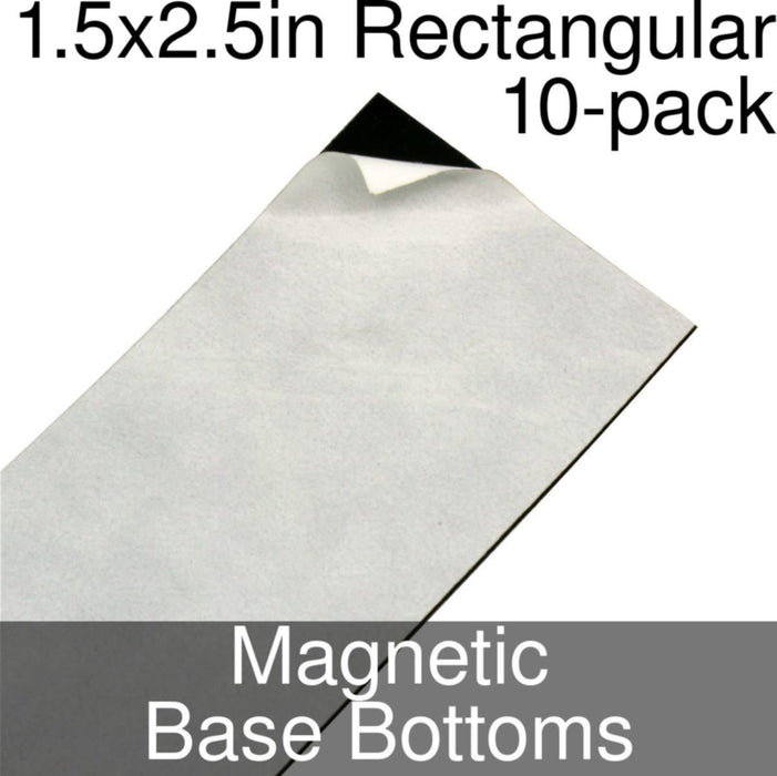 Miniature Base Bottoms, Rectangular, 1.5x2.5inch, Magnet (10) - LITKO Game Accessories