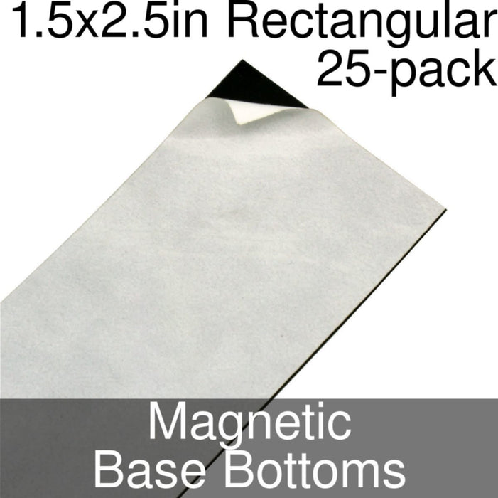 Miniature Base Bottoms, Rectangular, 1.5x2.5inch, Magnet (25) - LITKO Game Accessories