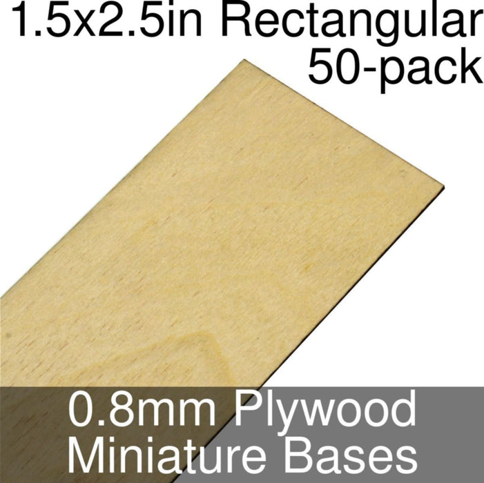 Miniature Bases, Rectangular, 1.5x2.5inch, 0.8mm Plywood (50) - LITKO Game Accessories