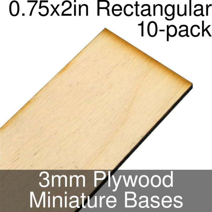 Miniature Bases, Rectangular, 0.75x2inch, 3mm Plywood (10) - LITKO Game Accessories