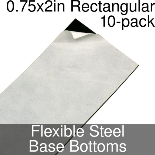 Miniature Base Bottoms, Rectangular, 0.75x2inch, Flexible Steel (10) - LITKO Game Accessories