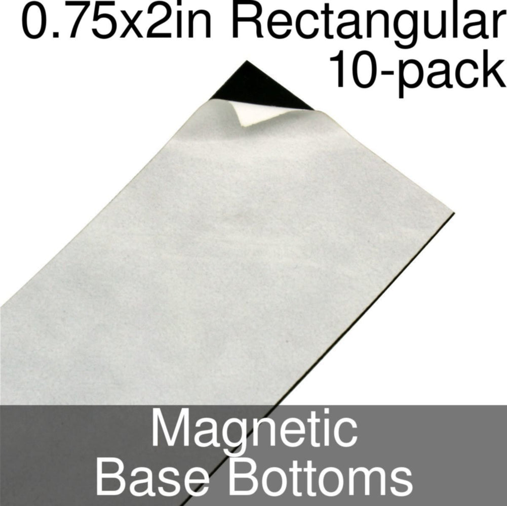 Miniature Base Bottoms, Rectangular, 0.75x2inch, Magnet (10) - LITKO Game Accessories