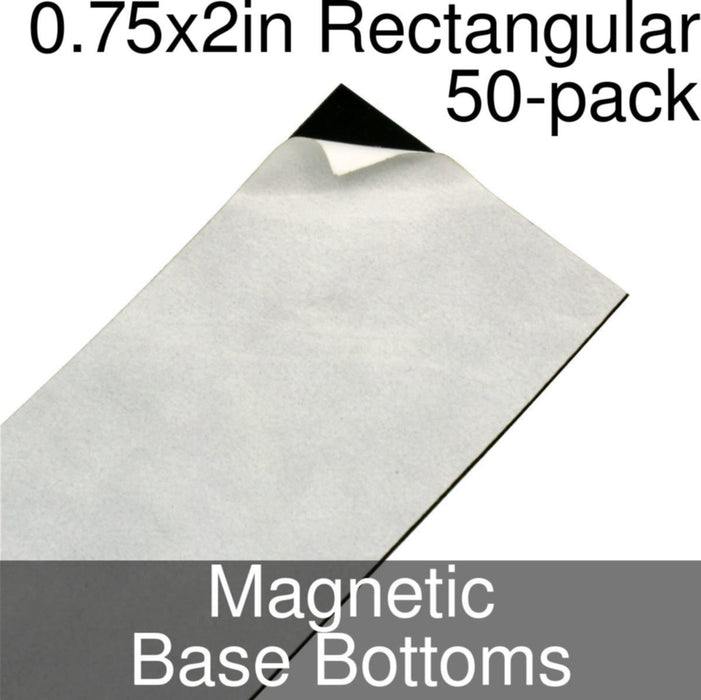 Miniature Base Bottoms, Rectangular, 0.75x2inch, Magnet (50) - LITKO Game Accessories