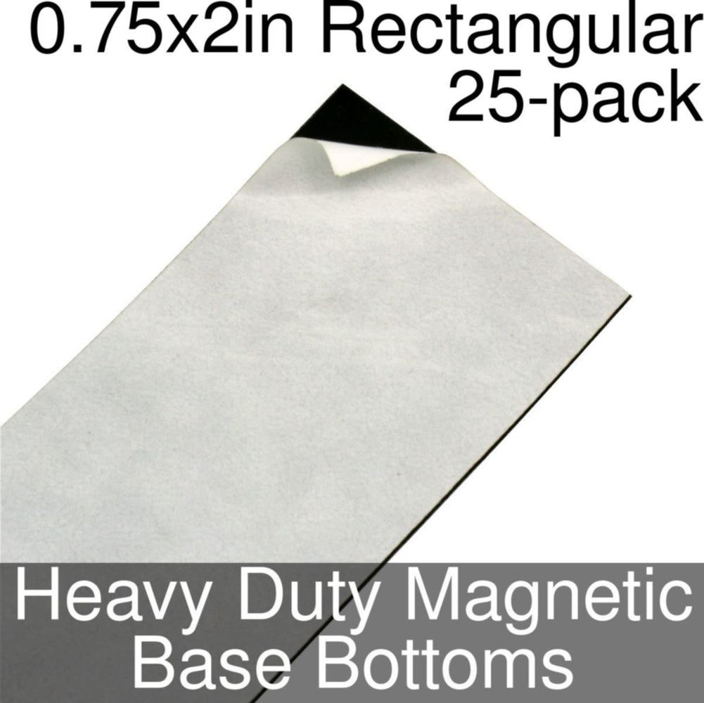 Miniature Base Bottoms, Rectangular, 0.75x2inch, Heavy Duty Magnet (25) - LITKO Game Accessories