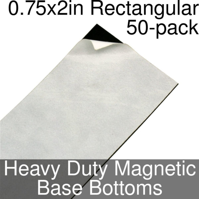 Miniature Base Bottoms, Rectangular, 0.75x2inch, Heavy Duty Magnet (50) - LITKO Game Accessories
