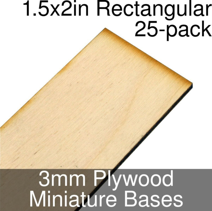 Miniature Bases, Rectangular, 1.5x2inch, 3mm Plywood (25) - LITKO Game Accessories