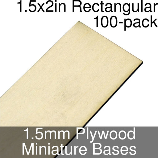 Miniature Bases, Rectangular, 1.5x2inch, 1.5mm Plywood (100) - LITKO Game Accessories