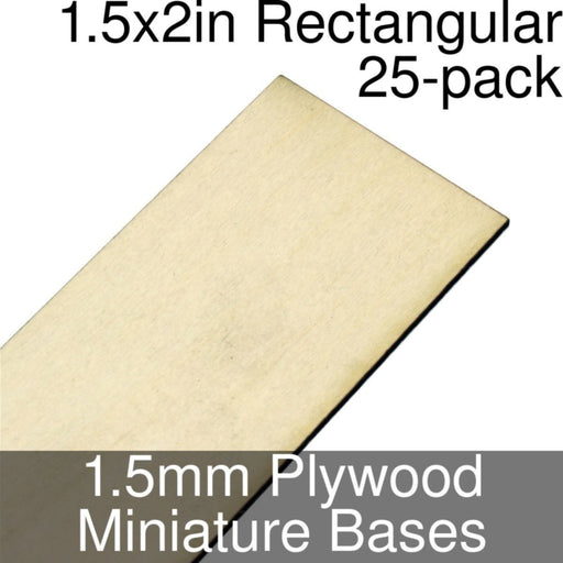 Miniature Bases, Rectangular, 1.5x2inch, 1.5mm Plywood (25) - LITKO Game Accessories